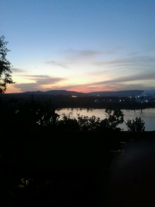 Megan's first photo from Uganda - Lake Victoria at sunset - Jinja
