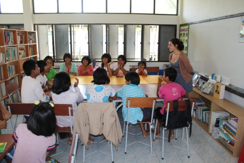 Indoor teaching for Megan in Thailand