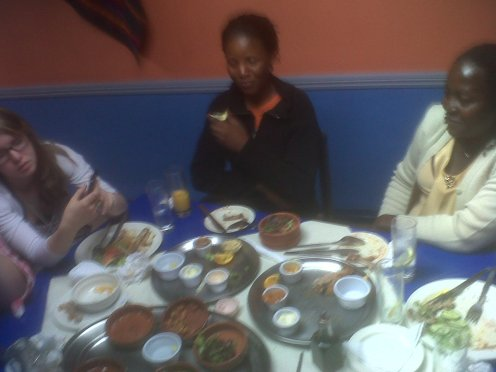 Annette, Irene and Ellen (Megan's sister, my daughter) with some of the lunch!