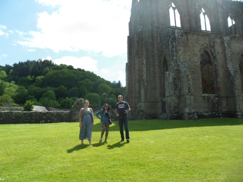 Megan, Za and Roger at Tintern Abbey