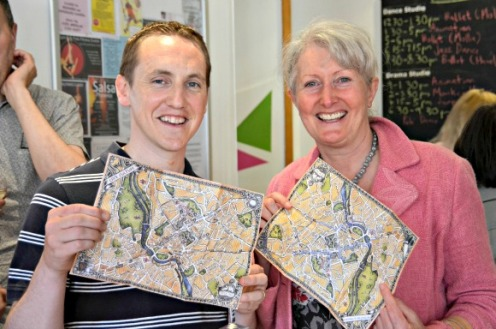 Exeter Business Network member Chris Wood of Q Social Media with Cathy Towers of Exeter Mind & Body Clinic with Exeter Trails