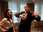 A creative exchange - a hand knitted Michael Jackson glove from Megan Humby - event co-host and Daniel Collings - GWS Media