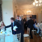 People getting ready for their networking lunch in The Bernay's Room