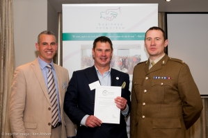 From l-r Jon Beake - Wessex Reserve Forces' & Cadets' Association; Sean Humby - BNSW and Fergus Sullivan - 105 Battalion REME presenting The Armed Forces Coprporate Covenant