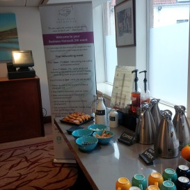 Coffee ready for the networking before the free business seminar