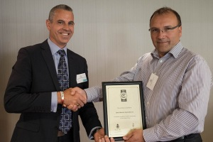 Roy being presented with his DERS Bronze Award by  Jon Beake - Wessex RFCA