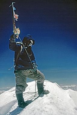 Edmund Hillary atop Everest